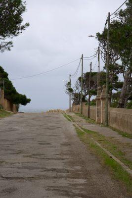 Straße zum Meer, rechts eine Mauer