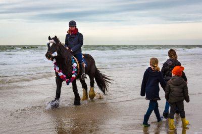 drei Kinder bestaunen eine Reiterin